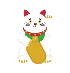 Lucky cat hold coin japan icon vector