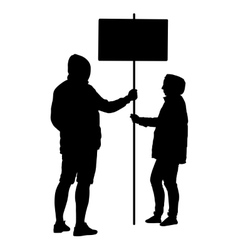 Silhouette man and woman hold banner on a pole vector image
