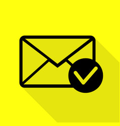 Mail sign with allow mark black icon vector
