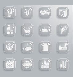 milk industry icon set vector image