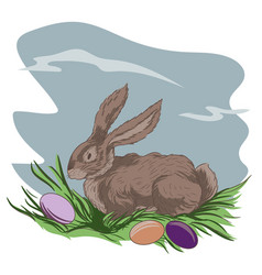 Easter bunny and easter eggs on green grass vector