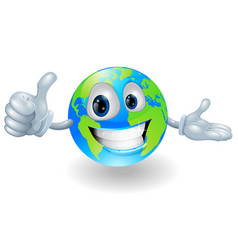 Globe mascot giving a thumbs up vector