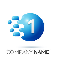 number one splash logo blue dots and bubbles vector image