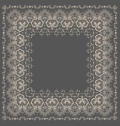 fine floral square frame decorative vector image
