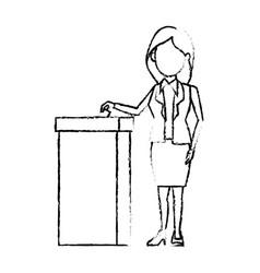 Cartoon woman vote at ballot box election vector