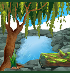 Scene with river in forest vector