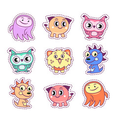 Stickers set pop art style with cartoon monsters vector