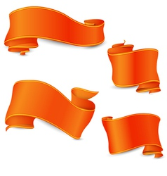 Set of the perfect orange ribbons with yellow and vector