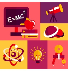 Physics flat design icons set vector