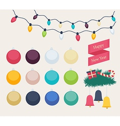 Set of colorful new year icons vector