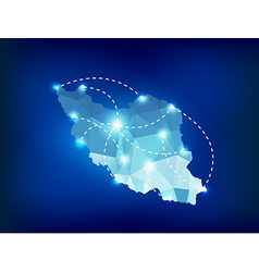 Iran country map polygonal with spot lights places vector