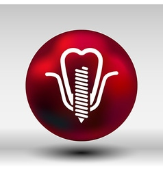 Screwed false tooth icon anatomy beauty brightly vector