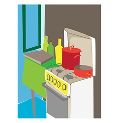Cartoon kitchen interior vector