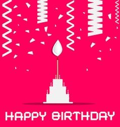 Happy birthday with cake and confetti on pink vector