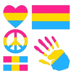 Pansexual pride design elements vector