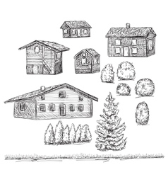 Hand drawn set of houses building sketch vector