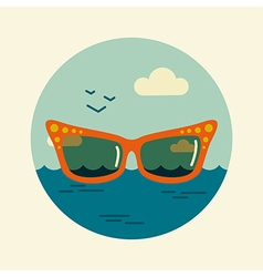 Sunglasses icon summer beach sun sea vector
