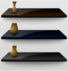 Three shelves with vases vector