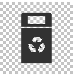 Trashcan sign  dark gray icon on vector