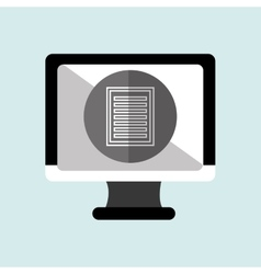 Monitor pc with social marketing isolated icon vector