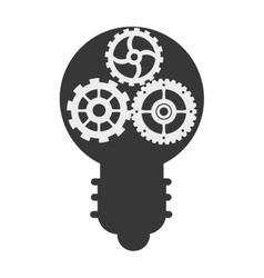 gears inside lightbulb icon vector image