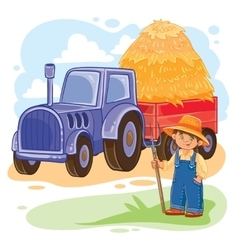 a little boy farmer vector image vector image