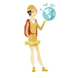 Asian traveler woman holding map and globe vector