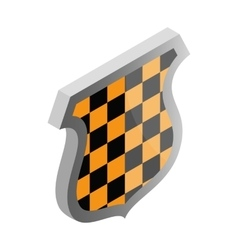 Black and yellow shield icon isometric 3d style vector image