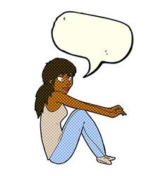 Cartoon happy woman sitting with speech bubble vector