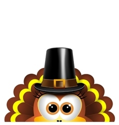 Cartoon turkey in a pilgrim hat card for vector