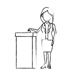 Cartoon woman vote at ballot box election vector