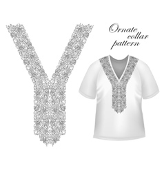 Collar front woman blouse print line embroidery vector