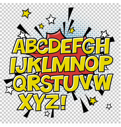 comic alphabet and speech bubble element halftone vector image