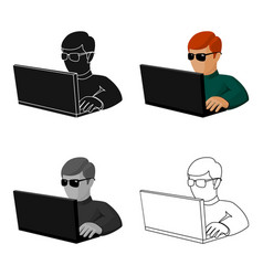 computer hacker icon in cartoon style isolated on vector image vector image