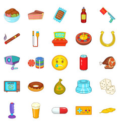Drugs icons set cartoon style vector