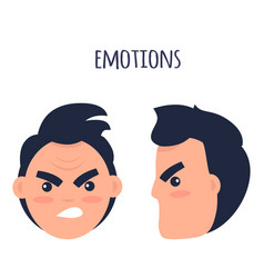 emotions angry man faces isolated vector image vector image