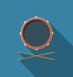Flat design drum and drum sticks icon with long vector