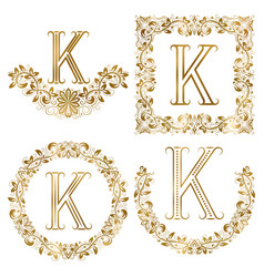golden k letter ornamental monograms set heraldic vector image vector image