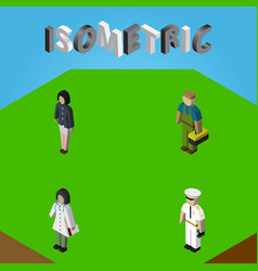 Isometric human set of plumber doctor seaman and vector
