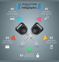 Key lock icon business infographic vector
