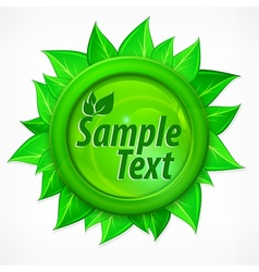 Leaves round label vector image vector image