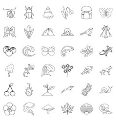 Life forest icons set outline style vector
