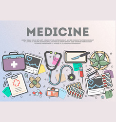 medicine top view banner in line art style vector image