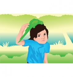 parrot and boy vector image vector image