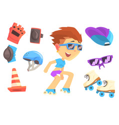 Roller skating boy set for label design colorful vector