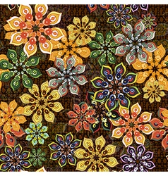 seamless flower pattern on brown texture vector image vector image