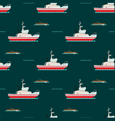 Ship cruiser boat sea seamless pattern vessel vector