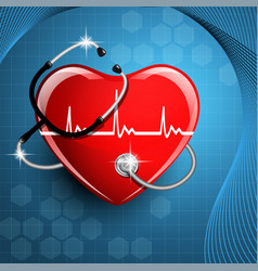 stethoscope medical equipment and heart shape vector image