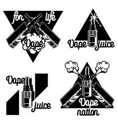 Vintage vape e-cigarette emblems vector