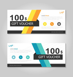 Yellow blue gift voucher ticket template layout vector image vector image